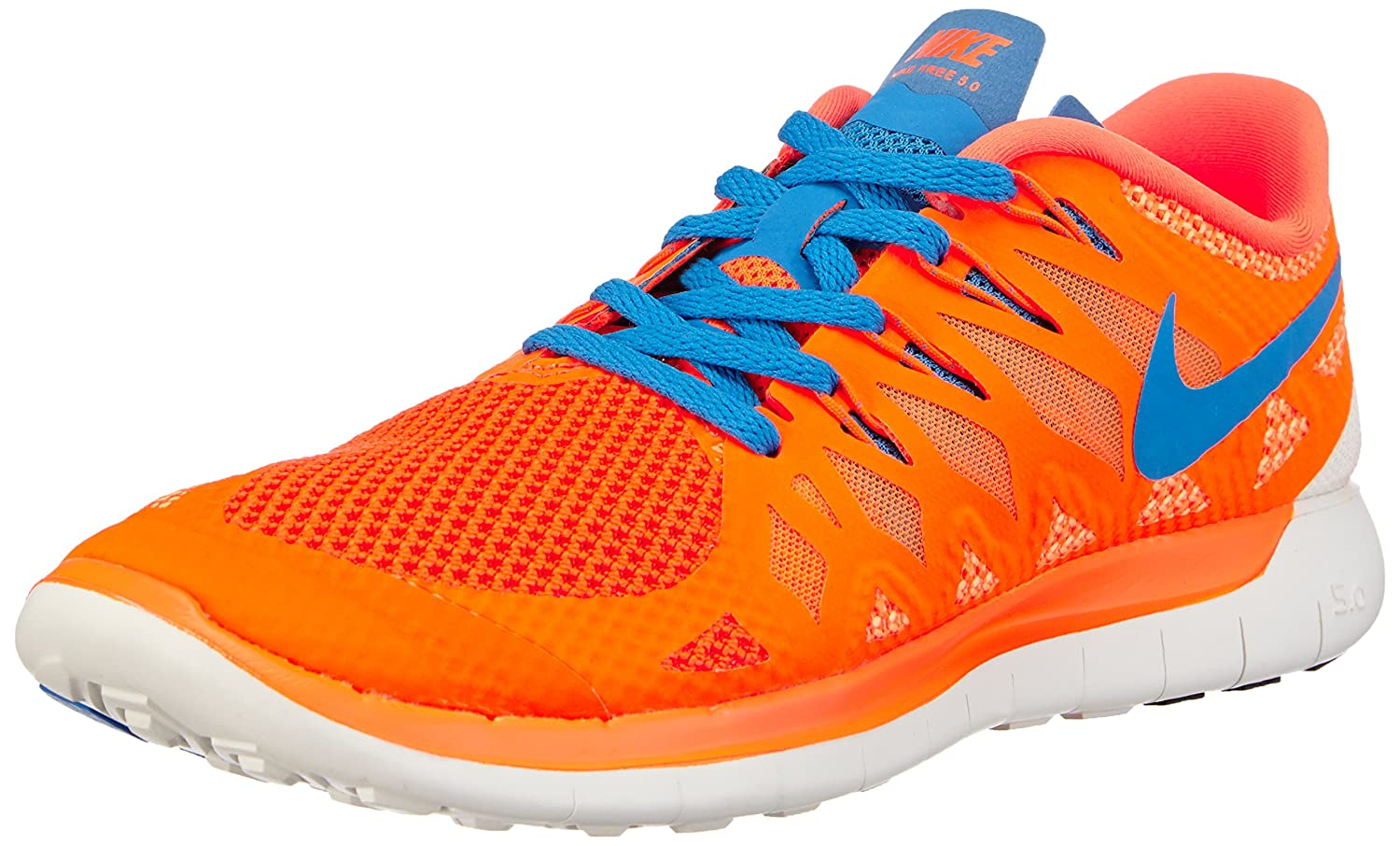 Nike Men's Free 5.0 Running Shoe B00IDKXY3E 8 D(M) US|Orange/Blue/White