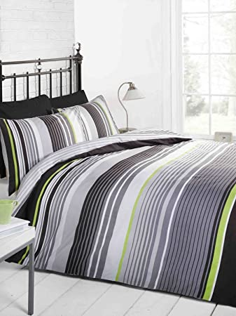 signature striped quilt duvet cover and pillowcase bedding bed set grey blackgreen