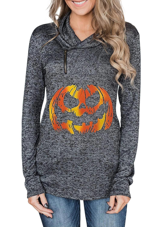 Dearlove Womens Cowl Neck Zip Lightweight Pullover Tunic Sweatshirt Tops