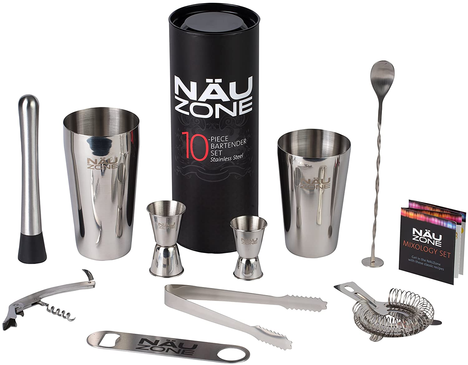 10 Piece Home Bartender Set | Household Quality Barware Set: Boston Shaker Bar Set Includes Bar Kit Tools for Home Cocktail Drink Mixing NÄU Zone BAR10SS