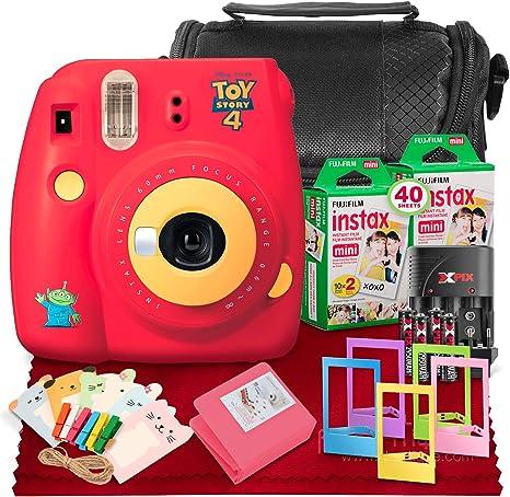 Fujifilm Instax Mini 9 Cámara de película instantánea (Toy Story 4) + Fujifilm Instax Mini Twin Pack Instant Film (20 hojas), estuche y paquete de accesorios de lujo: Amazon.es: Electrónica