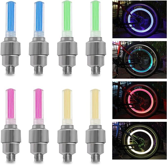 10-40X Pink LED Tyre Wheel Valve Cap Light Waterproof Car Bicycle Motorcycle RLM