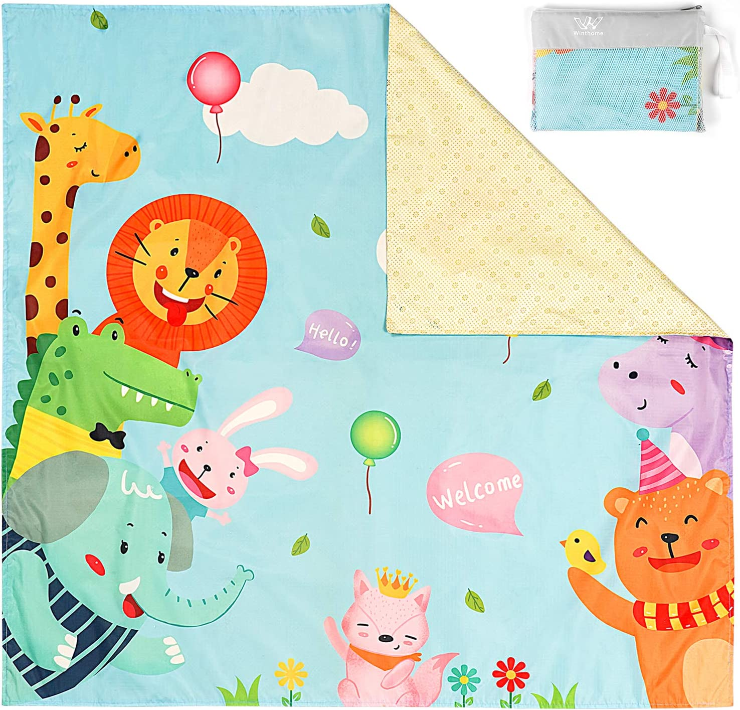 Winthome Splat Mat for Under High Chair Baby Waterproof Non Slip Floor Mat Washable Spill Splash Mat for Arts Crafts Carpet Picnic (110x110cm, Zoo )
