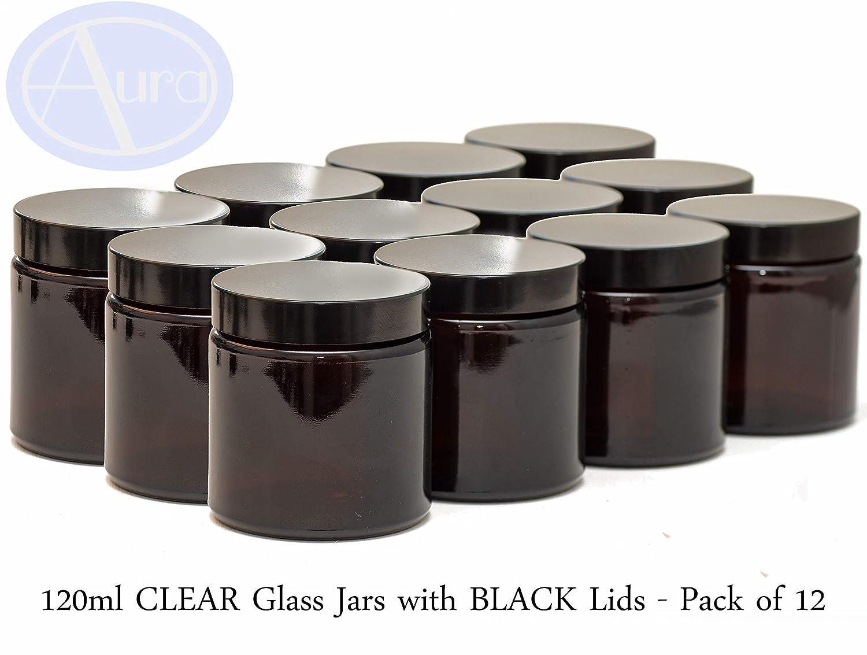 Frascos de vidrio de 120 ml con tapas negras - Paquete de 12 ...