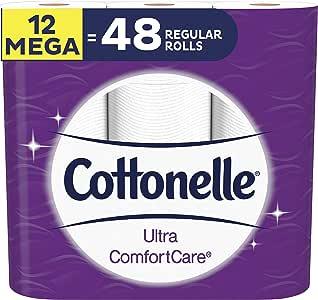 Cottonelle Ultra ComfortCare Soft Toilet Paper, 12 Mega Rolls, Bath Tissue