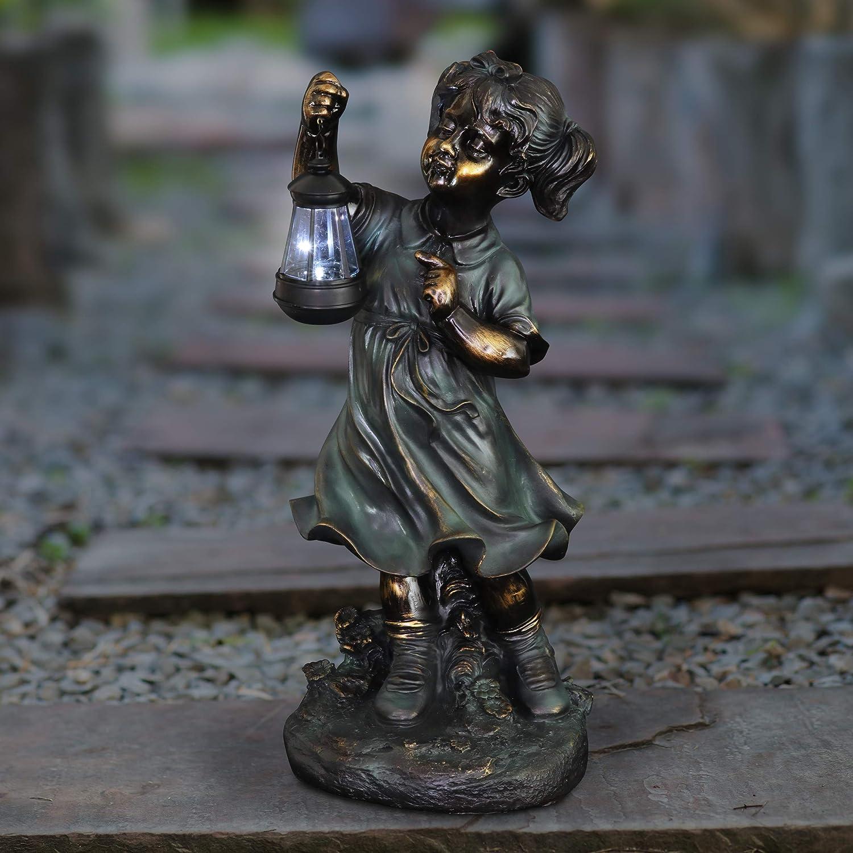 Kexle Flowers for Felicity Little Girl Garden Statue Two Tone ...