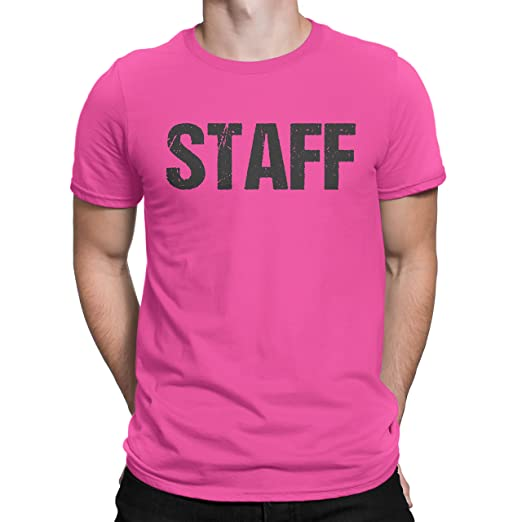 d37e114f08c029 NYC FACTORY Neon Pink Staff T-Shirt Front & Back Print Unisex Event Shirt  Tee