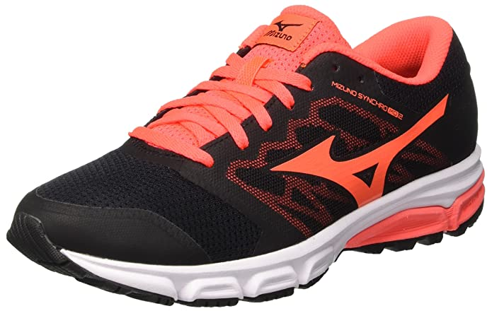 Synchro MX W, Zapatillas de Running para Mujer, Multicolor (Black/Silver/Fierycoral), 40.5 EU Mizuno