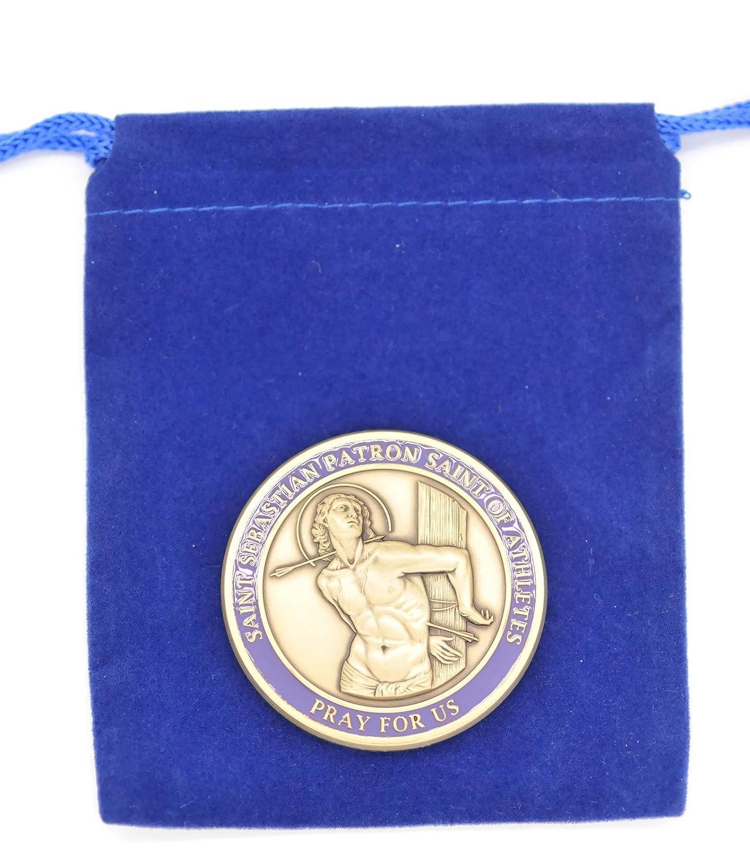 MARTIAL ARTS Medal Saint Sebastian Brass SEBANO Sports Good Luck Coin 1.7 Minted DKC Mint Bertof 20 7//18