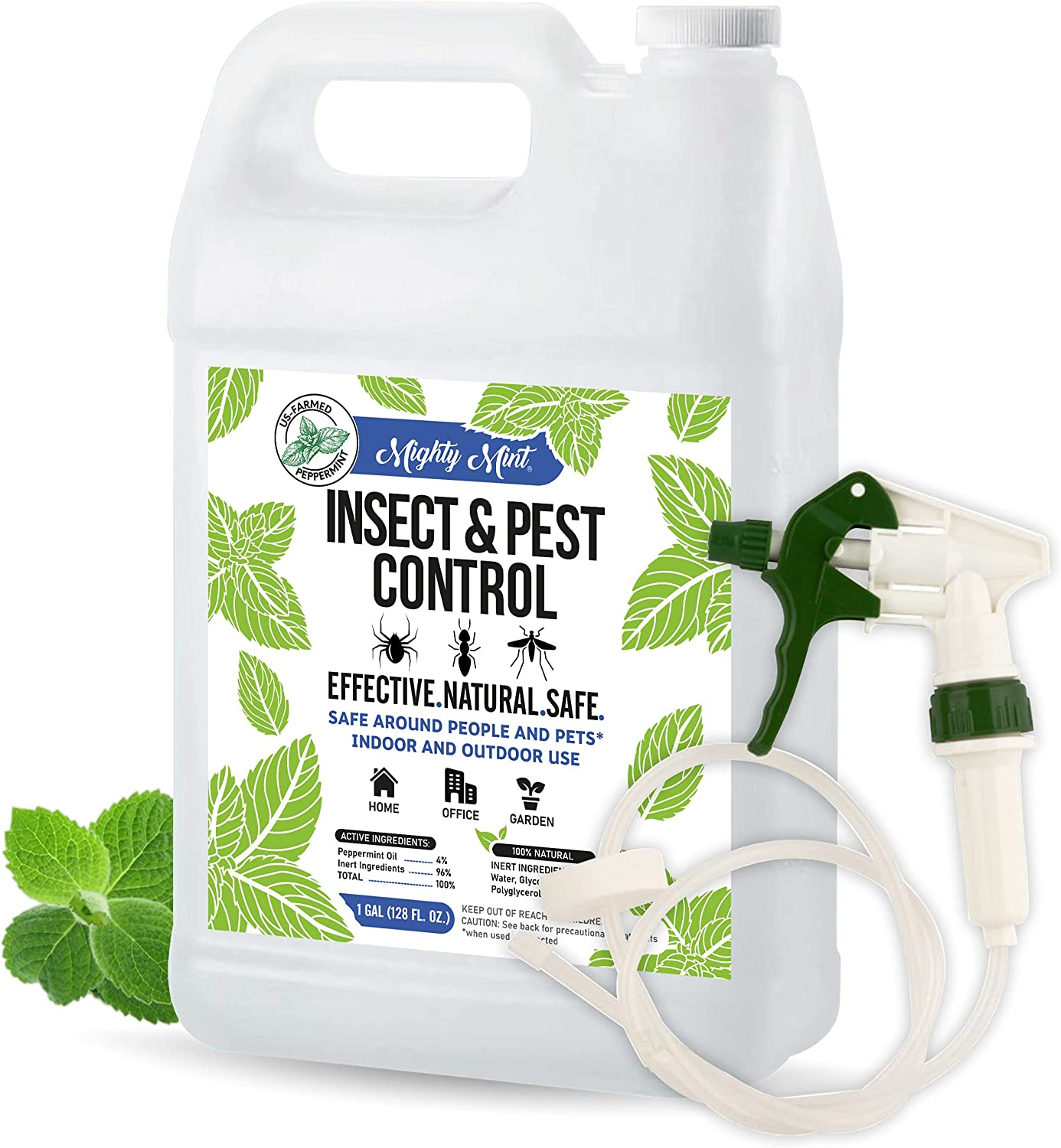 Mighty Mint Gallon (128 oz) Insect and Pest Control Peppermint Oil - Natural Spray for Spiders, Ants, and More - Non Toxic