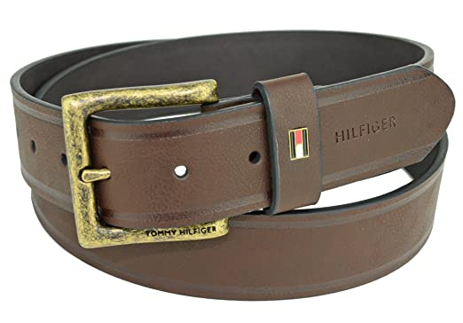 1e3b15019548 Image Unavailable. Image not available for. Color  Tommy Hilfiger LOGO Mens  Brown Belt ...