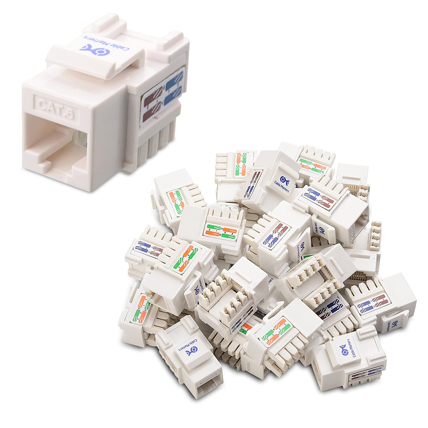 Cable Matters Ul Listed 25 Pack Cat6 Rj45 Keystone Wiring Diagram How To Wire Your House With Cat5e Or Jack In White And Punch Down Stand Computers Accessories