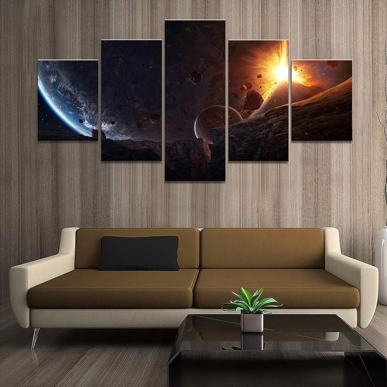 5 Panel Cometa Impacto Tierra Paisaje Lienzo Sala de Estar Mural Pintura Decorativa HD Imagen Arte Cartel Sin Marco