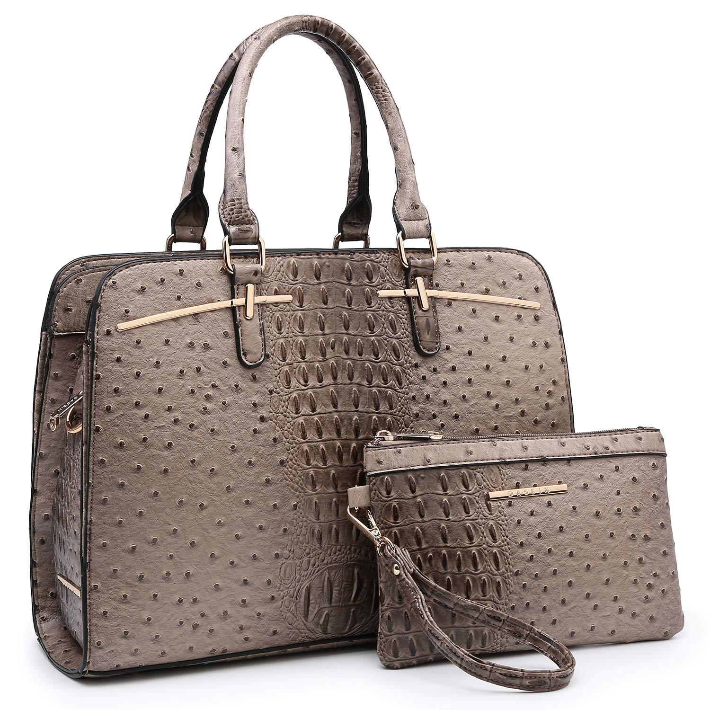 01 Ostrich Stone Women Handbag Fashion Satchel Multi Pockets Purse 2 Pieces Set Triple Compartment Shoulder Bag Faux Leather