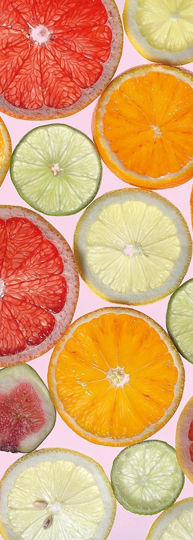 Limetten Orangen Frucht -1098-DV1 Komar Tapete Zitronen Wand Dekoration 100 x 280 cm Vlies Fototapete FRESH