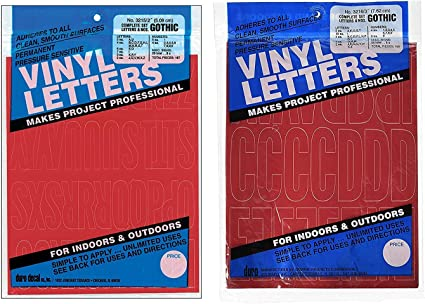 """Duro Decal Permanent Adhesive Vinyl Letters /& Numbers 2/"""" Gothic White"""