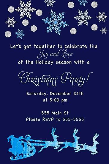 amazon com 30 invitations christmas party navy blue watercolor