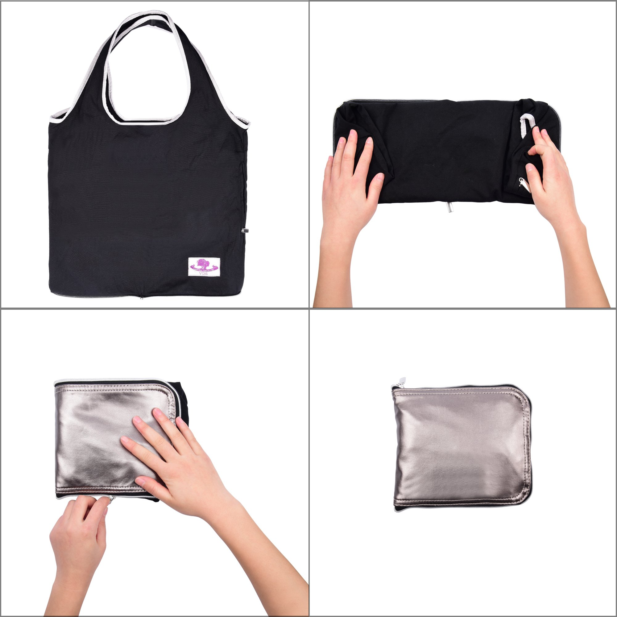 VDS Reusable Grocery Bags, Large Eco Friendly Foldable Grocery Tote Bag Heavy Duty Washable Shopping Bags