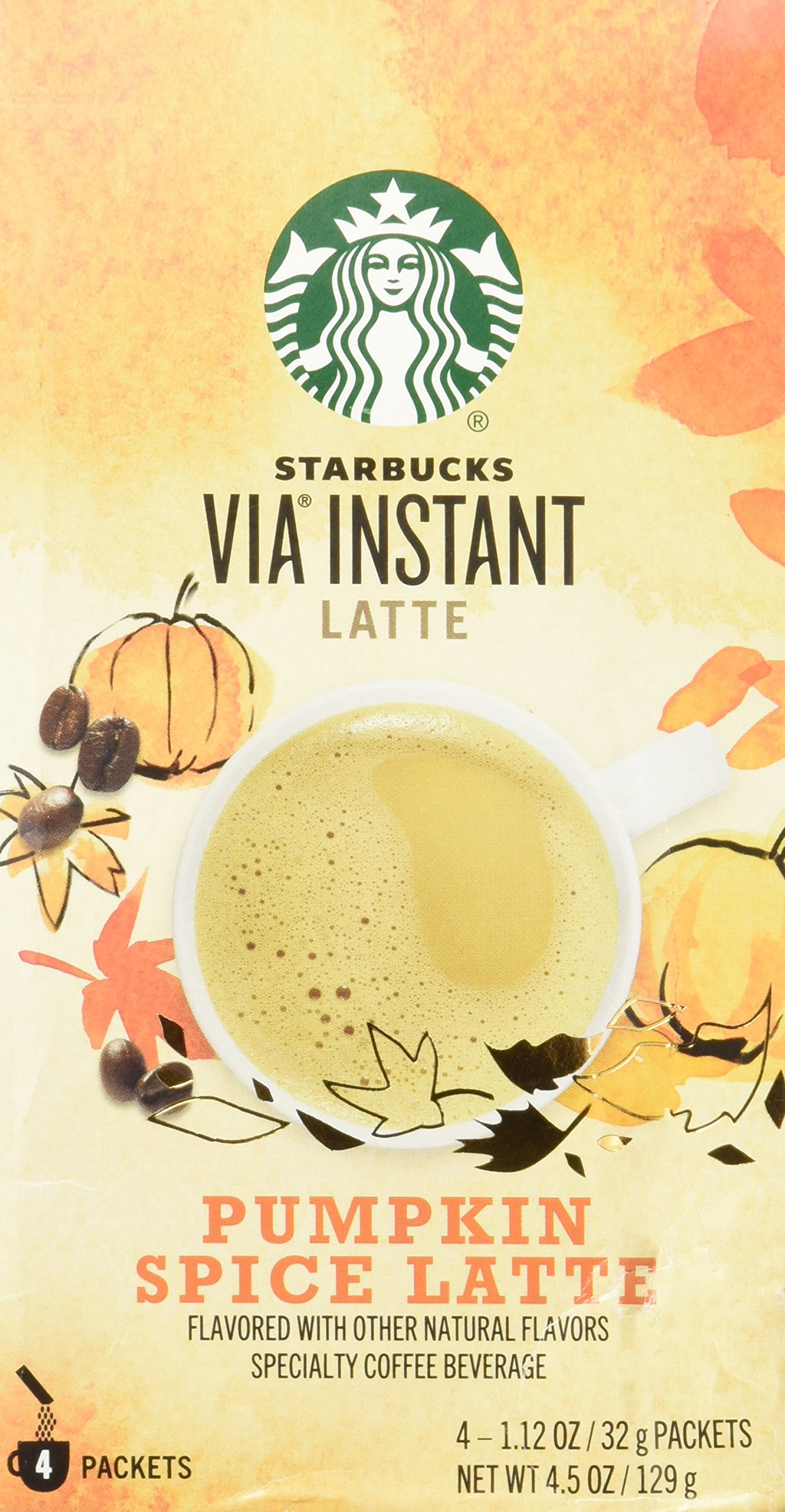 Starbucks Via Instant Pumpkin Spice Latte, 4 Packets, 4.5 Oz.