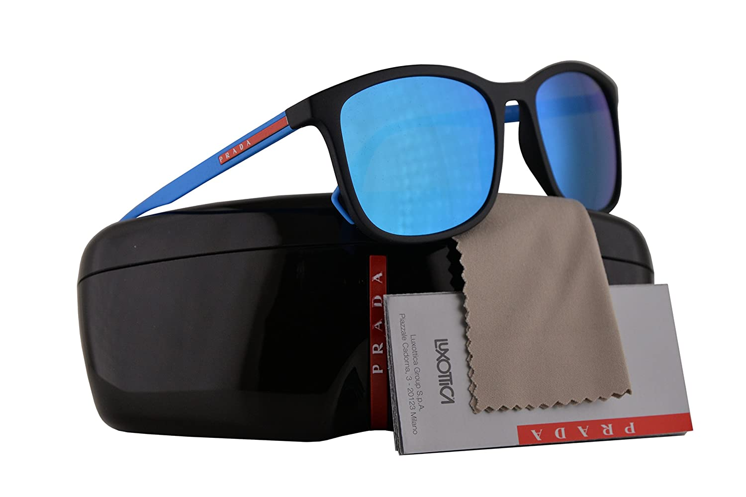 c338ad87c58a Prada PS01TS Sunglasses Black Rubber w/Light Green Mirror Blue 56mm Lens  DG05M2 SPS01T PS 01TS SPS 01T: Amazon.co.uk: Clothing