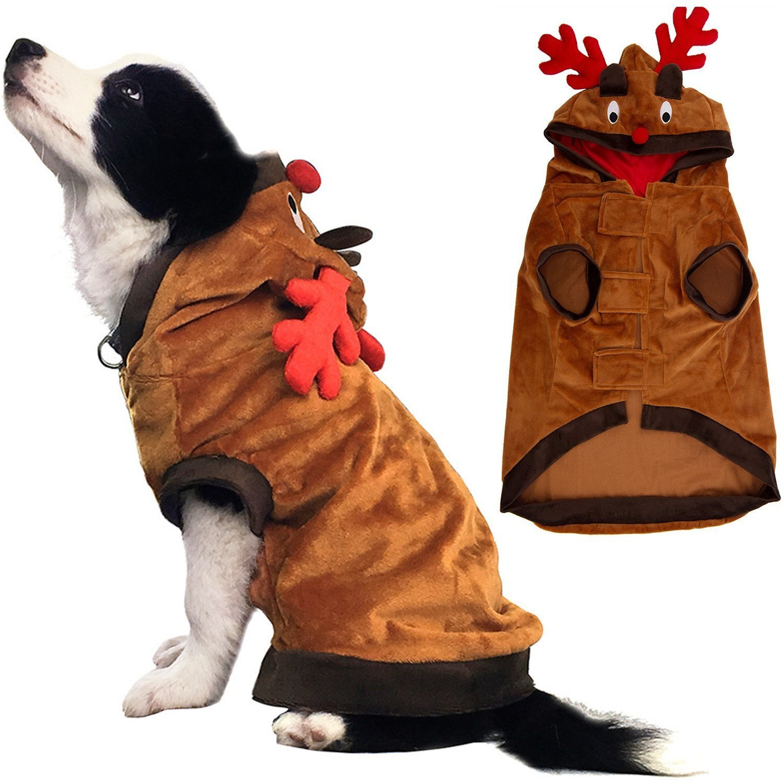 Amazon.com : Christmas Reindeer Dog Costume Pet Clothes Funny Coat ...
