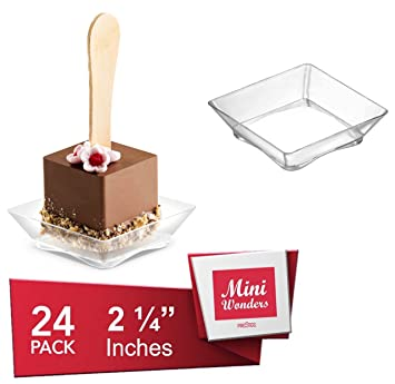 MINI WONDER SMALL SQUARE DESSERT PLATES - petite plates - tiny clear plastic tray - party  sc 1 st  Amazon.com & Amazon.com | MINI WONDER SMALL SQUARE DESSERT PLATES - petite plates ...