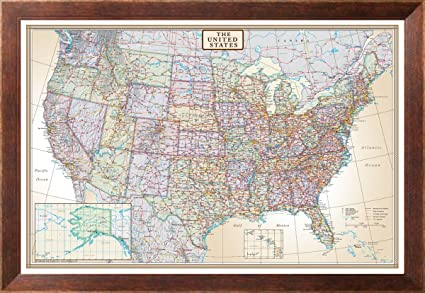 Amazon.com: United States Political Map, Executive Style Framed