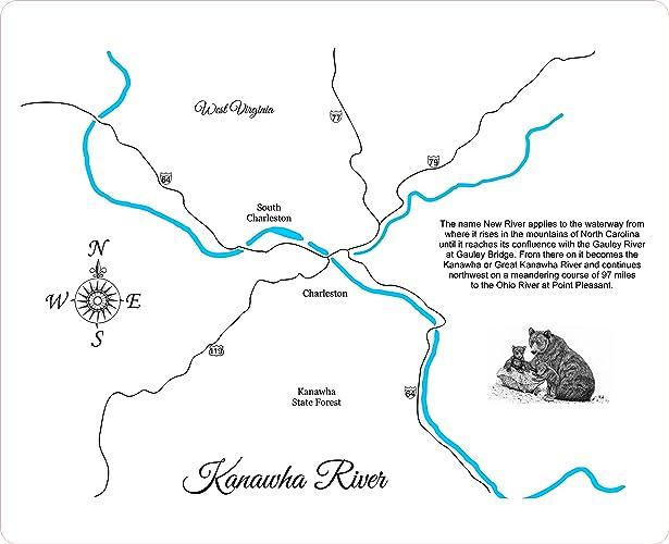 Amazon.com: Kanawha River, West Virginia: Framed Wood Map Wall ...