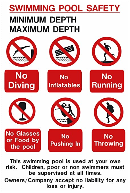 Swimming pool sign: SWIMMING POOL SAFETY with space for maximum and minimum  depth A4