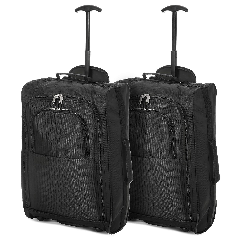 EONO Essentials Bagage Cabine Valise Souple 2 Roues Bagage /à Main Noir Set de Deux