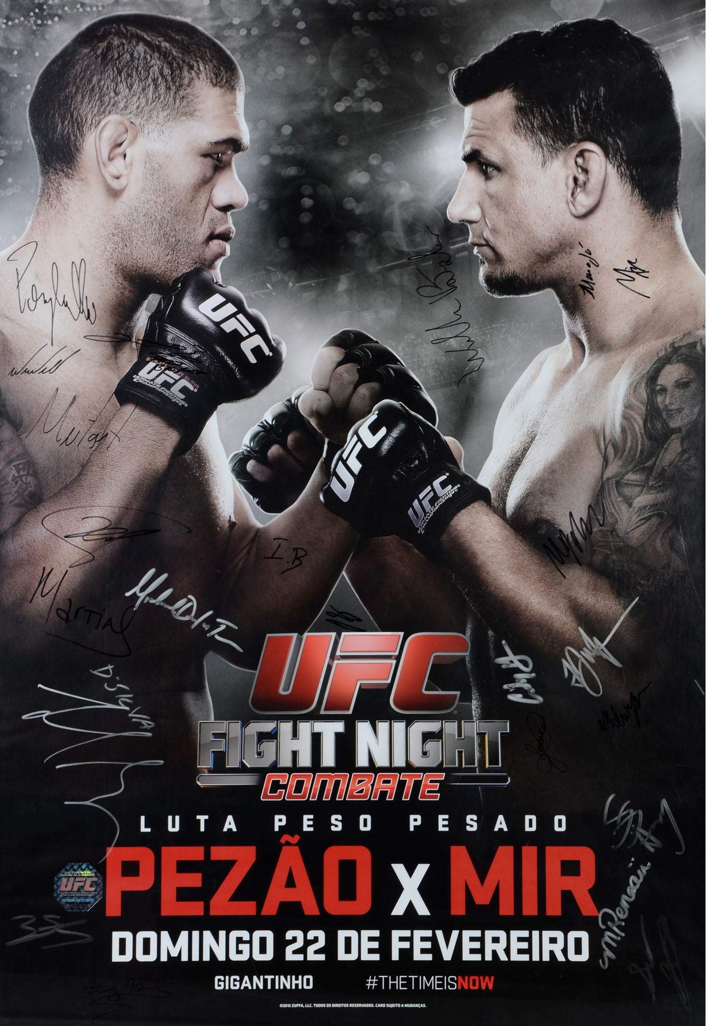 "UFC Fight Night 61 Bigfoot vs. Mir Autographed 27"" x 39"" 22 Signature Event Poster Fanatics Authentic Certified"