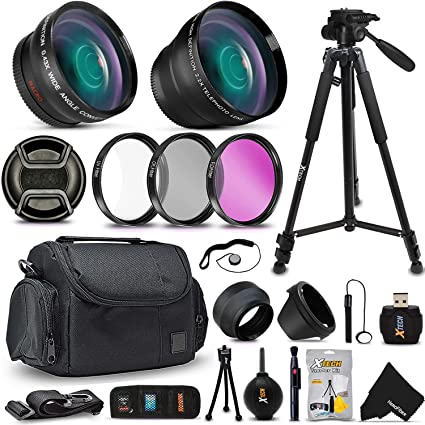 Optimal 21 Piece Accessory Kit for Canon EOS 7D Mark II, 70D 60D 5D 5D Mark  II EOS Rebel T6i T6S T5i T5 T4i T3 T3i T2i SL1 EOS M EOS M2 EOS 1200D