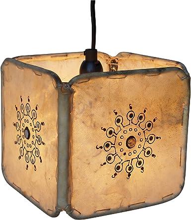 Guru-Shop Henna - Lámpara de Techo de Cuero/lámpara de ...
