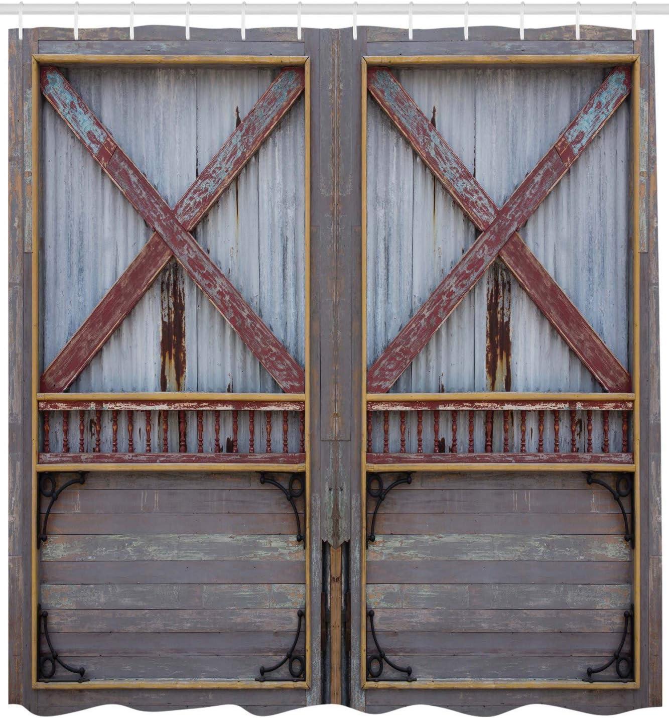 ABAKUHAUS Rustique Rideau de Douche Marron Impression Tendance sur Tissu 175 X 200 cm Vieille Grange en Bois Porte de Ferme Ch/êne Campagne Village Conseil Vie Rurale