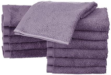 AmazonBasics - Toallas de algodón, 12 unidades, Lavanda