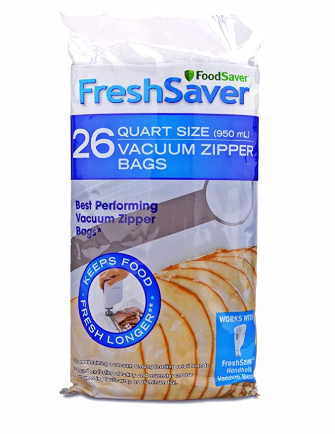 FoodSaver FSFRBZ0236-000R 1-Quart FreshSaver Vacuum Zipper Bags, 26 Count (Package might vary)