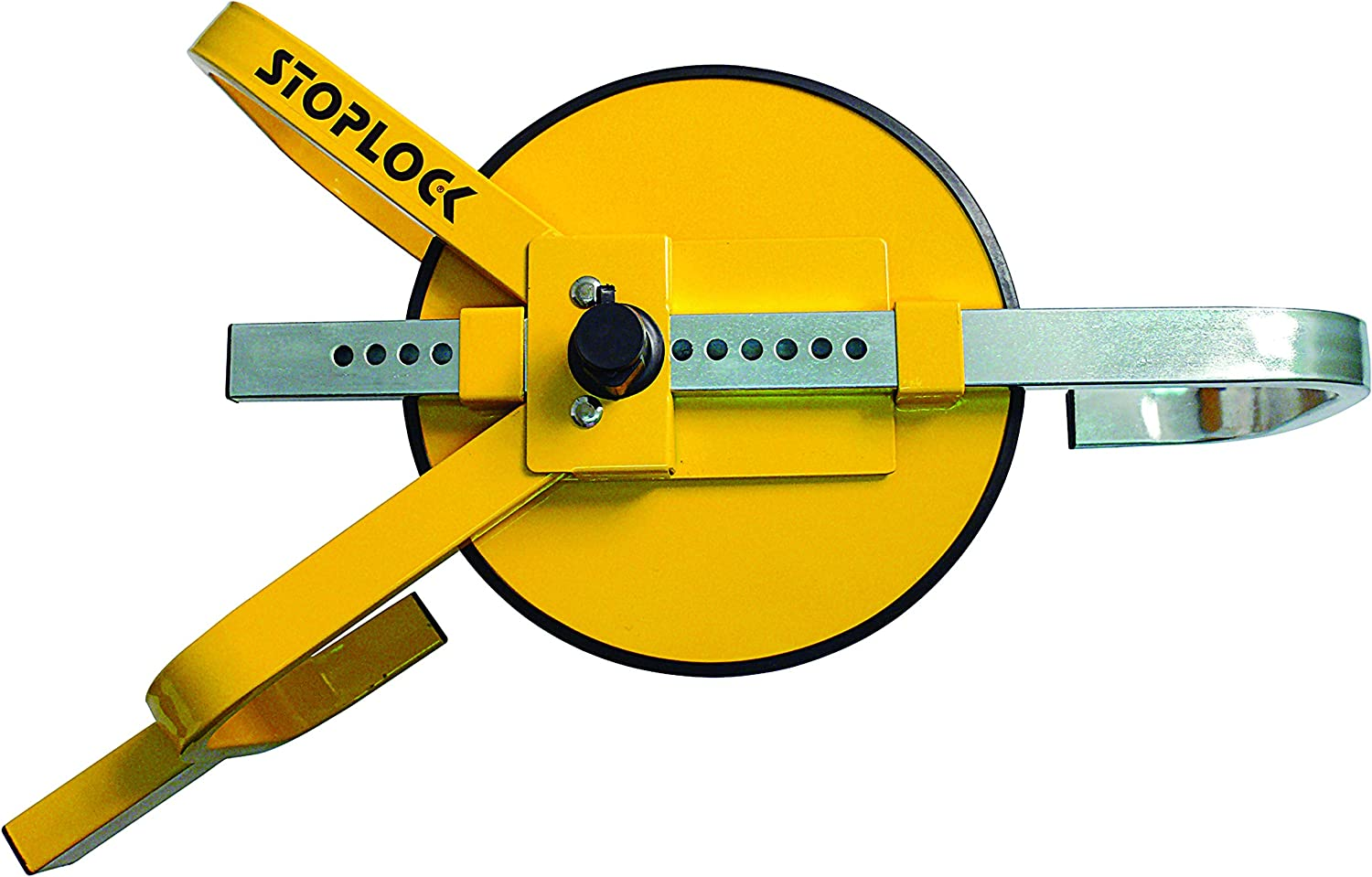best trailer accessories -  A yellow wheel lock with a steel hook for clamping your trailer