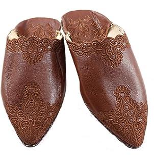 a30b5a83a820 ChiCies Babouche aus Marokko - Damen Hausschuhe Schuhe aus Leder-Samt,  Handarbeit aus