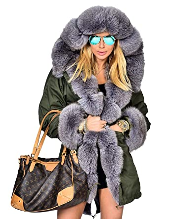 Aofur Damen Winter Freizeit Parka Jacke Faux Pelz Gefüttert Kapuzen Trench Top Coat Army Parka große größen 36 50 Overcoat Steppjacke (48XXL, Amry