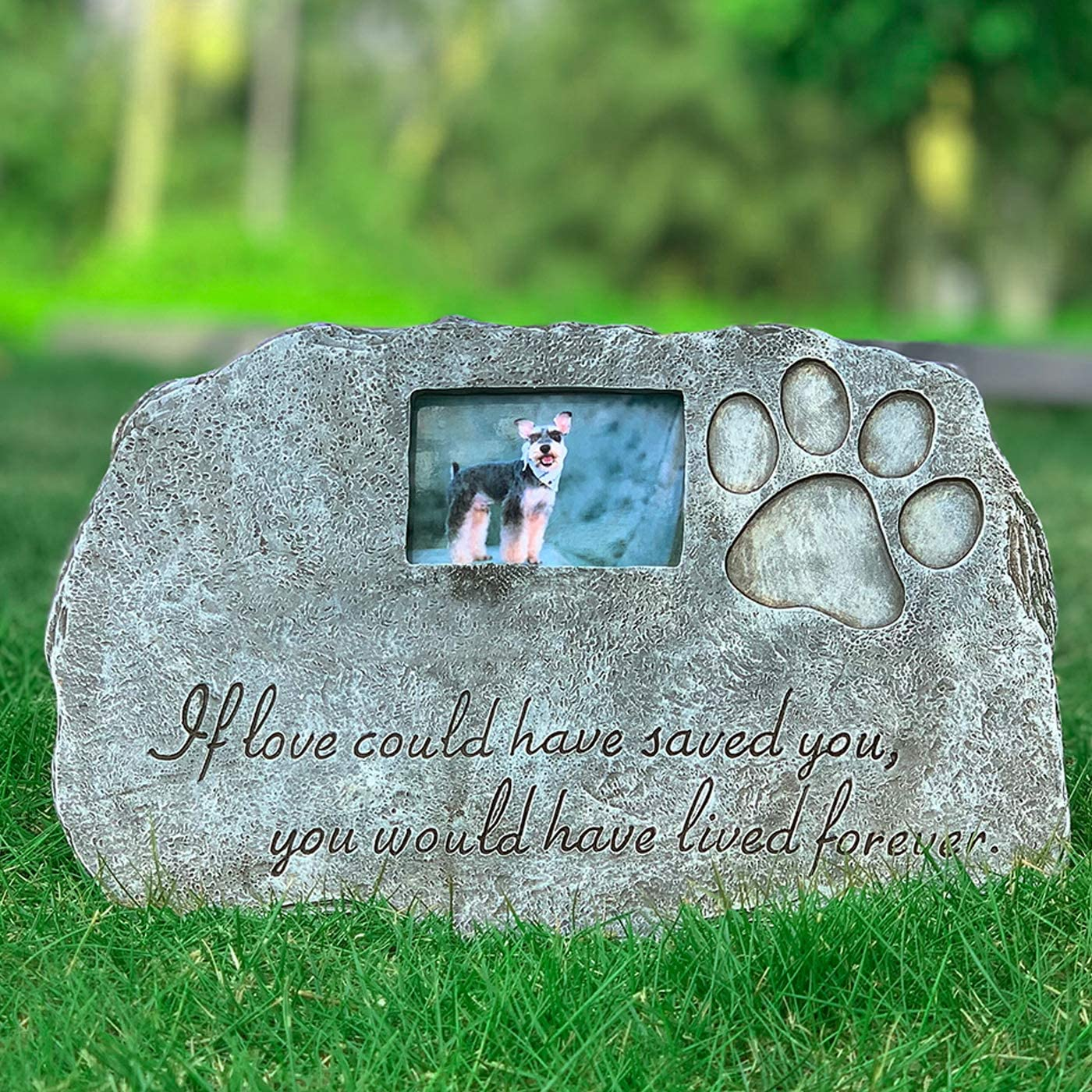 Re-Call Black Pet Tombstone Dog or Cat Memorial Stone Personalized with Waterproof Photo Dog or Cat Grave Markers in Lawn and Garden