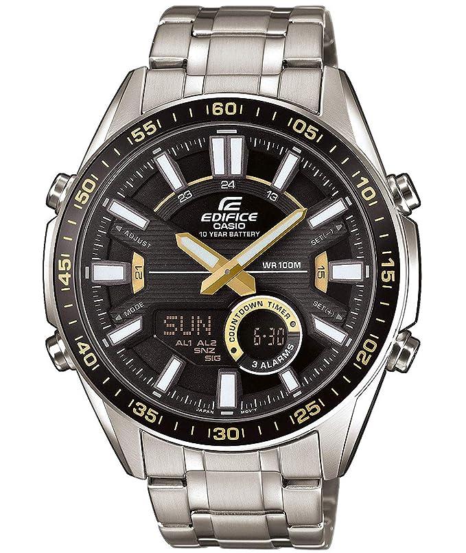 EDIFICE Reloj Analógico-Digital para Hombre de Cuarzo con Correa en Acero Inoxidable EFV-C100D-1BVEF