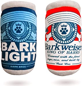 Barklight Barkweiser Two Pack Plush Squeaky Dog Toys Funny Drink Parody