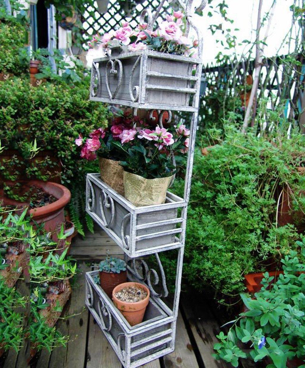 ZENGAI 古いフラワーラックをアイロンの花鍋のラックを剥がすようにするソリッドウッド3層の壁掛けフレームマルチポットの植木鉢 フラワースタンド B079D2586W