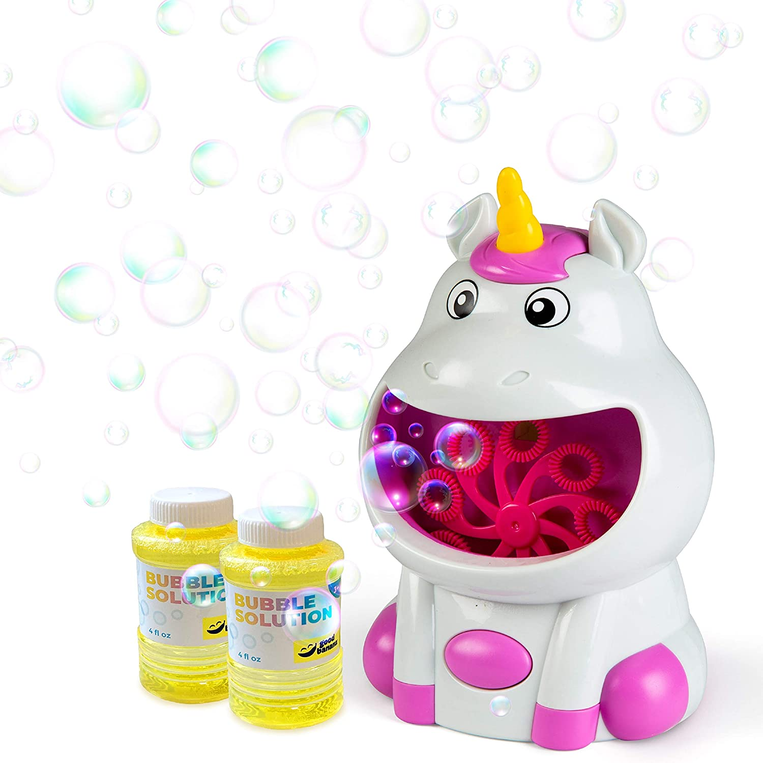 Good Banana Unicorn Bubble Machine, Cordless Automatic Bubble Maker, Blower for Kids, 2 Bottles of Solution Included, Indoor and Outdoor Play, Backyard, Patio, Bath Time, Big Billows of Bubbles