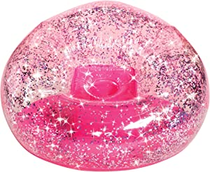 Three Cheers for Girls by Make It Real - Pink Glitter Confetti Chair - Inflatable Lounge Chair for Kids - Comfortable & Portable Blow Up Chair Perfect for Outdoors, Bedrooms, Game Room, Dorms & More