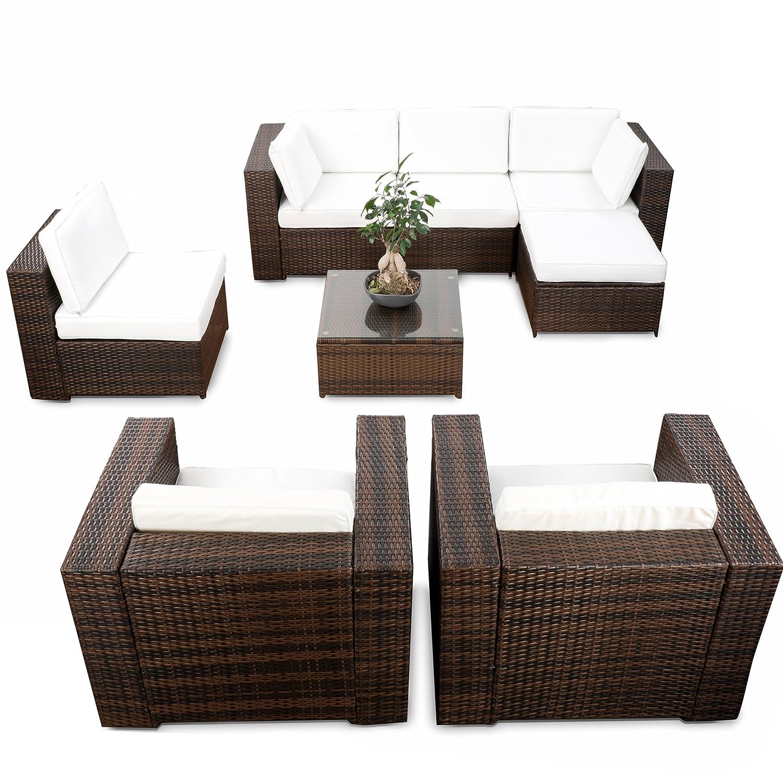 erweiterbares 24tlg. Eck Lounge Gartenmöbel Set XXL - braun-mix ...