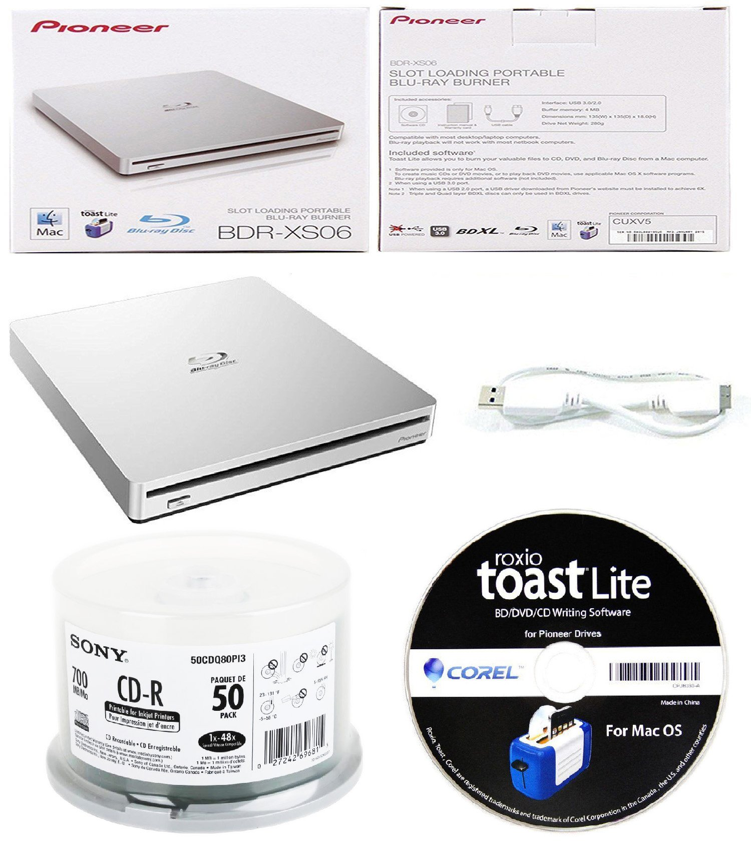 Pioneer 6x BDR-XS06 Slim Slot Portable External Blu-ray BDXL Burner, Roxio Toast Lite Software and USB Cable Bundle with 50pk CD-R Sony 700MB 48X White Inkjet Printable