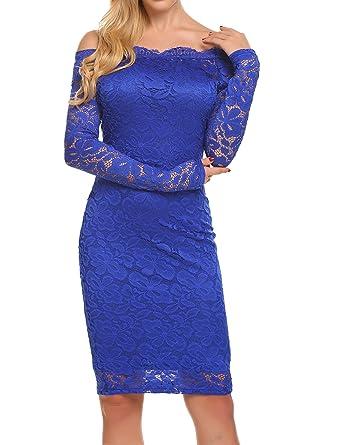 f75322556799 BEAUTYTALK Women s Off Shoulder Lace Dress Long Sleeve Bodycon ...