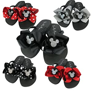 Mickey Disney Bow Glitter Flip Flops Customizable Colors Vacation Sandals Bling Mouse Ladies Girls