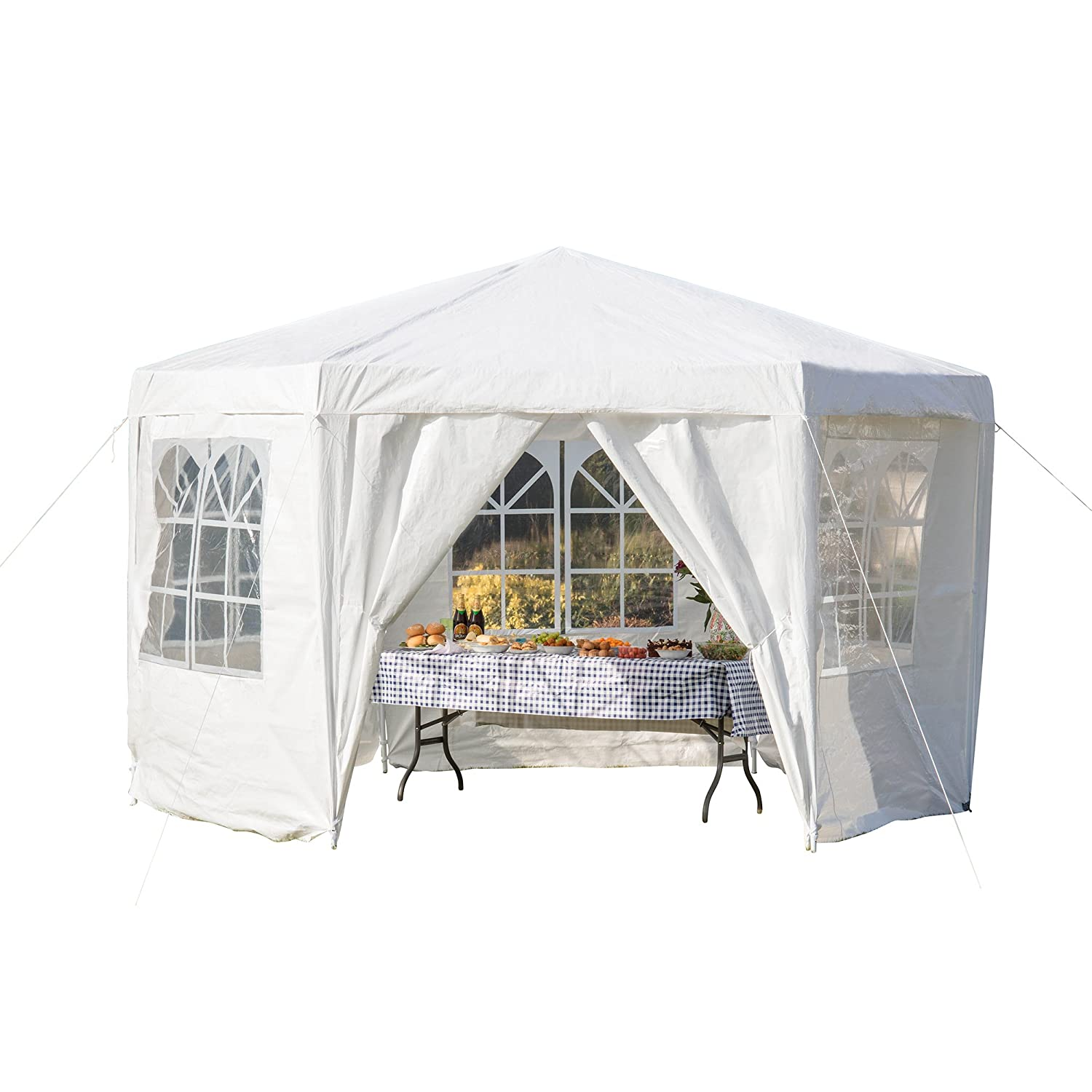 Garden Life Gazebo Hexagonal Party Tent Outdoor Events Shelter (Blue)